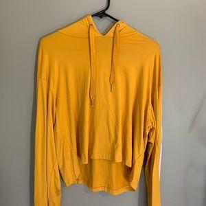 stripe sleeves yellow hoodie shirt
